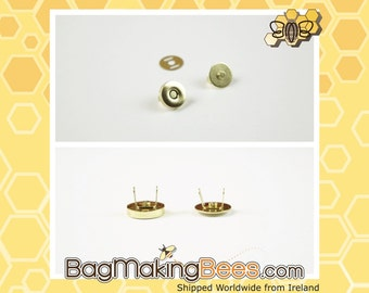 1/2 Inch [14mm] Gold Magnetic Snap Closures [Set Of 5]