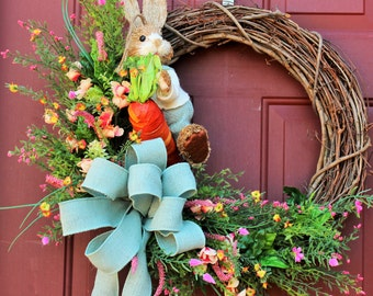 Bunny Wreath, Easter Wreath, Spring Wreath, Grapevine Wreath, Silk Floral Wreath, Front Door Wreath
