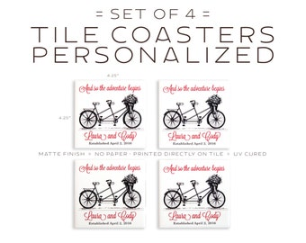 Personalized Bicycle Tile Coasters Set of Four - Tandem Bike Art