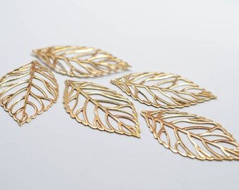 10 pcs Skeleton Leaves Vintage High Quality Filigree Gold Plated Brass Thin Leaf Pendant Charm