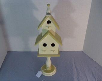 Birdhouse, hand painted, Cream and sage colors, sits on a pedestal base. Unique gift idea, Home décor