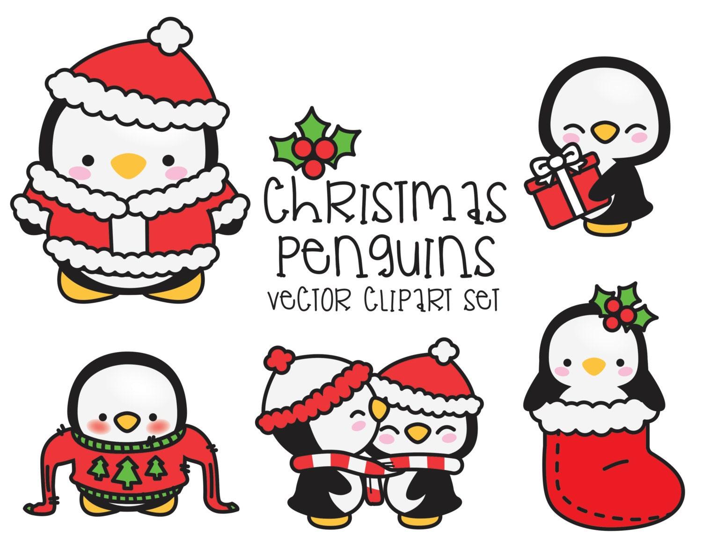premium vector clipart kawaii christmas penguins cute