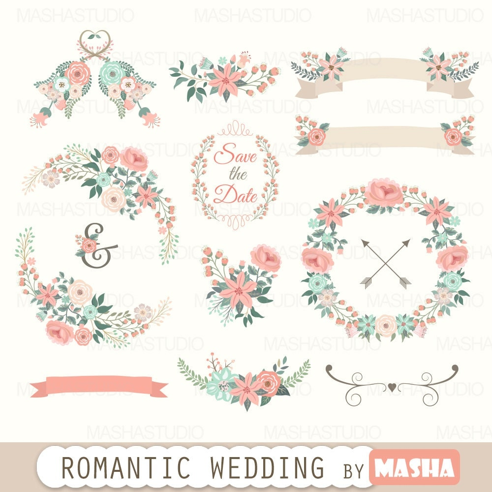 Floral clipart romantic wedding clipart with by mashastudio