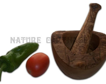 Olive wood rustic mortar and pestle 3,94 - 4.72 - 5.5 Inches