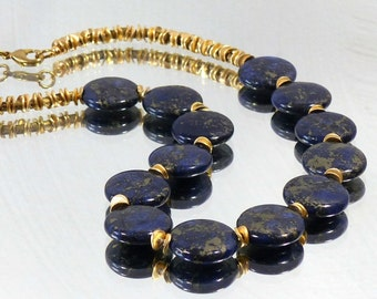 Gemstone necklace 48 cm, lapis lazuli, gemstone necklace, gold-plated beads
