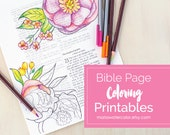 Adult Coloring Pages, Peonies on Bible page, Instant Download