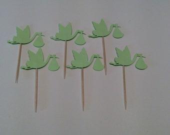 Mint Green Stork Partypicks/Cupcake toppers , Baby Stork cupcake topper, Party decor, Baby shower, 12 per order