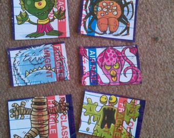 6 Home made stickers/slaps graffiti art monster series from @ambigramart