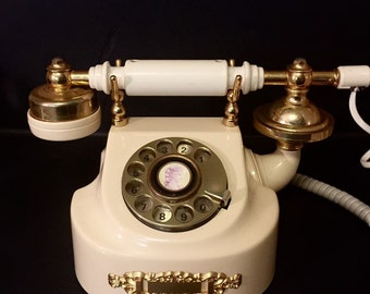 Vintage French Victorian Rotary Phone from the 60's Brass and Almond for the Country Home, Hotel Lobby or Cottage