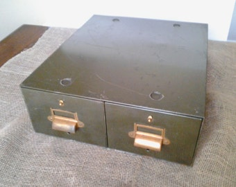 Two Drawer Metal Card File Cabinet