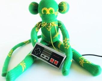 Sock Monkey-Zelda-Nintendo-Themed-Handmade-Monkey-Green, Gold, Yellow-Plushie-Plush-Stuffed Animal-Stuffed-Video Game
