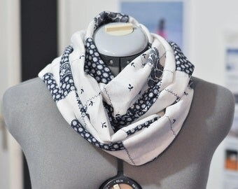 Infinity scarf scarf Navy Blue and white pattern patchwork