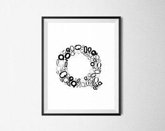 Q Monogram Alphabet Print