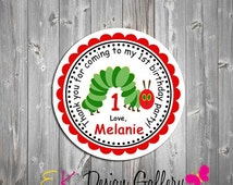 SALE Very Hungry Little Caterpillar Printable Personalized Birthday Party Treat Gift Tag Stickers Digital DIY