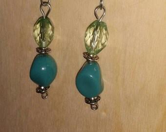 Cute handmade aqua dangle earrings
