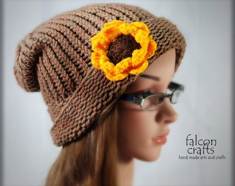 womans slouch beanie,one size,acrylic,mid brown,slouch beanie with large sunflower,all acrylic,mid brown mix,knitted slouch beanie hat.