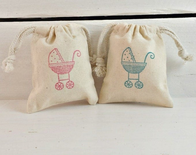 Cute Baby Carriage Stamped Favor Bags, Pink Carriage Baby Favor Bag, Blue Baby Carriage Favor Bag, Its A Girl Favor Bag, Its A Boy Favor Bag