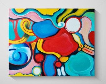 "Painting dynamic bright colors Acrylic Abstract Original Fine Art KenWebbStudios ""Loopty Loop"""