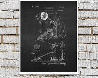 Vintage Drum Beater Patent Art #12 on chalkboard background - Music room Decor, Dorm Room Decor, Drummer gift, Drummer Decor idea, Wall Art