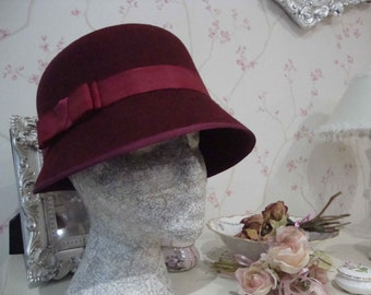 Burgundy Felt Cloche Hat