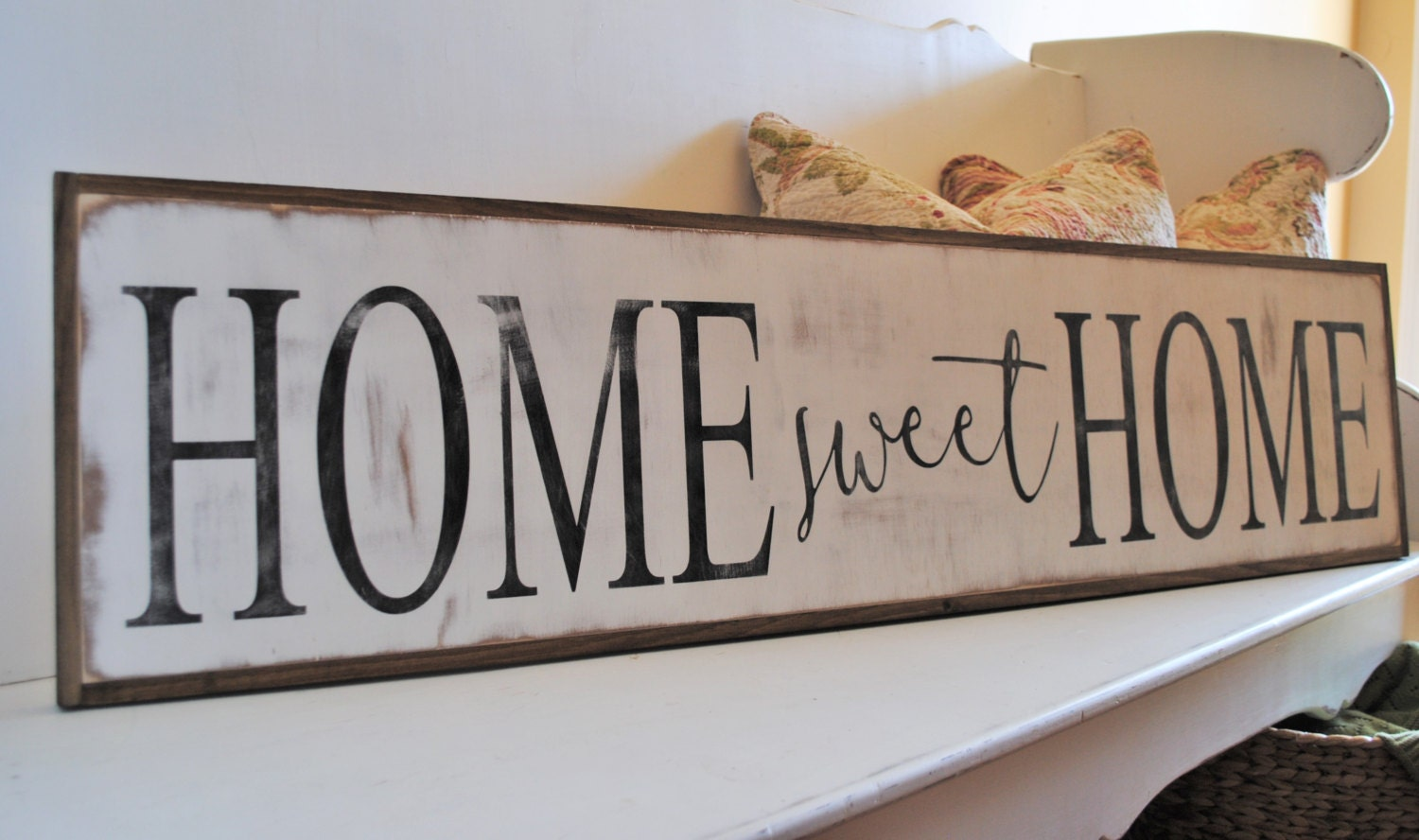 Home sweet home 1 39 x4 39 sign distressed shabby chic wooden for Sign decoration