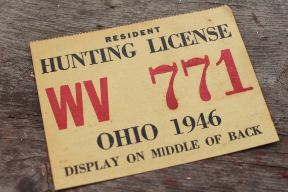 Vintage hunting license ohio 1946 mid century trapping hunter for Fishing license illinois