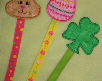 24 Hour Sale Price!   St. Patrick's Day and Easter Book Buddies Book marks In The Hoop embroidery Machine Designs for the 4x4 hoop