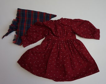 American Girl Kirsten Doll School Dress and Shawl