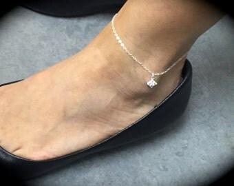 Sterling Silver CZ Anklet-Sterling Silver Anklet-Sterling Silver Cubic Zirconia Diamond Anklet-Delicate Anklet-Dainty Anklet