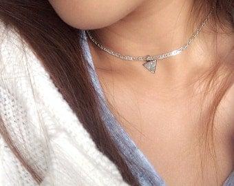 Silver choker triangle charm / pave diamond charm / minimal necklace / choker necklace