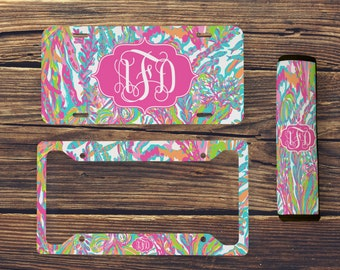 Monogrammed License Plate, Lilly Inspired Seatbelt Cover, Monogrammed License Plate Frame, Lilly Inspired, Monogram Lilly Car Accessories