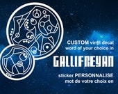 CUSTOM Doctor Who vinyl decal - Words in Circular Gallifreyan - Pick your color - Whovian - time lord - steampunk - birthday anniversary