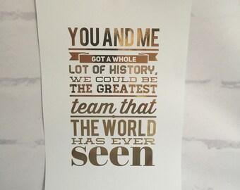 ONE DIRECTION Foil Lyric Art - History Lyrics