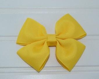 4 Inch Hair Bow, Yellow Bow, Ribbon Hair Bow, Hair Clip, Hair Accessory
