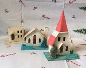 Vintage Putz Mica Frosted Christmas Japan House Lot Paper Mache' Tree Decoration Collection