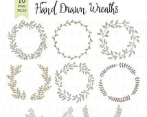 50% OFF SALE Wreath Clip art: ''DIGITAL Wreath'' laurel wreath clipart,wedding wreath, scrapbooking,hand drawn,leaves