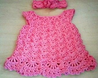 30% OFF ENTIRE PURCHASE Coupon Code (CBE30) Crochet Newborn Dress and Headband Set