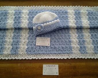 Crochet Baby Blanket, Baby Boy Baby Girl  from Newborn, handcrafted in Ireland Crochet Blanket and Hat