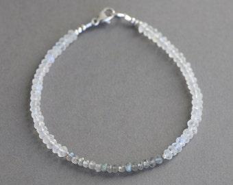 Labradorite and Moonstone Bracelet With Karen Hill Silver - Gemstone Bracelet - Stacking Bracelet