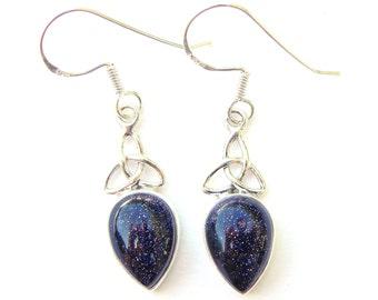 Blue Goldstone Goddess Triquetra Earrings