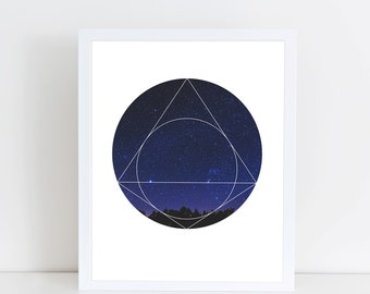 Magical Universe Art Print - Inspirational Stars Space Wall Art, Sky Planets Geometric Photography Art, Printable Triangle Pyramid Poster
