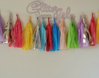 Up Up and Away Hot Air Balloon Tissue Tassel Garland
