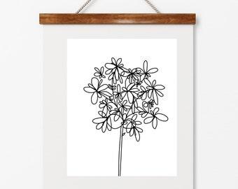 Modern floral art, illustration, 8x10 print, black illustrated flower,contemporary art, black and white art, digital print