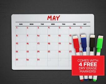 Acrylic Dry Erase Calendar - Wall Calendar - Fridge Dry Erase Calendar - Dry Erase Wall Calendar - Dry Erase Calendar - Acrylic Calendar