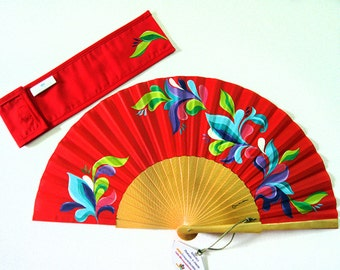 """Hand painted with matching sheath Fan """"Paradise"""""""