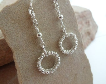 Sterling Silver Wire Wrapped Beaded Circle Earrings