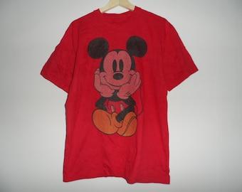 Vintage Mickey Mouse t shirt big logo medium Size