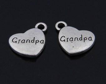 20pcs 18x15mm antique silver grandpa pendants love charms heart pendants heart charms Y1501