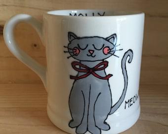 Hand painted personalised cat mug