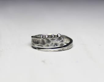 Silver ring with balls. oxidized silver and matte ring. silver 925.